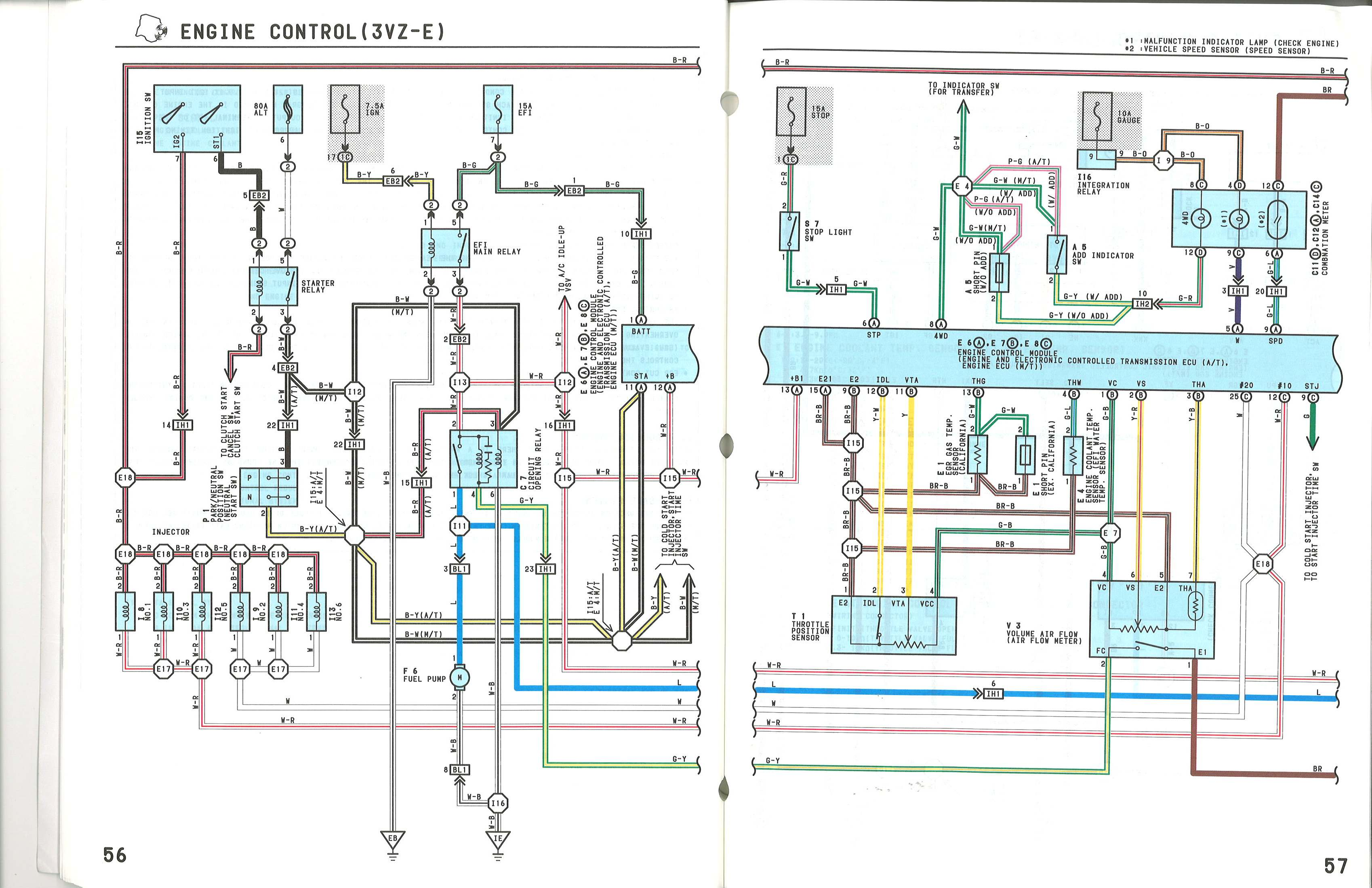 Engine_Control_3vze_2 ecu diagram for 1988 3vz e yotatech forums 1988 toyota 4runner v6 engine wiring diagram at soozxer.org