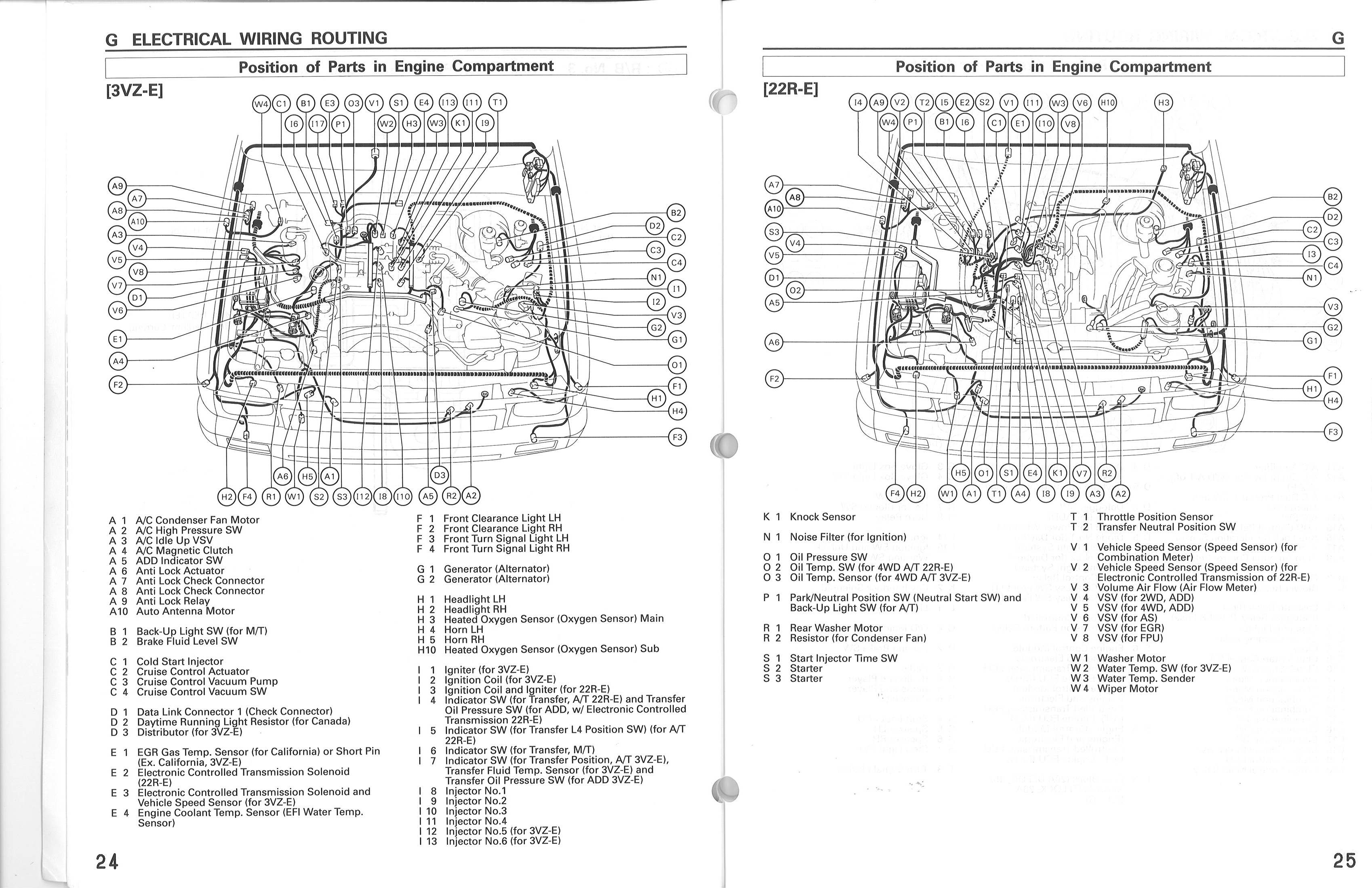Wire_routing_3vze_1 91 toyota pickup benz om617 diesel [archive] cummins 4bt 1991 Toyota Pickup Fuse Box Diagram at bayanpartner.co